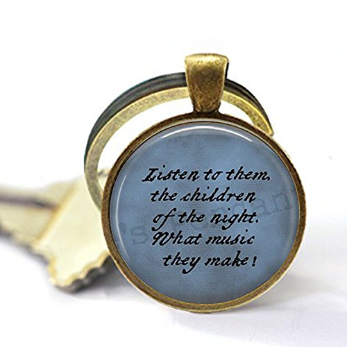 lukuhan Dracula Quote Keychain - Listen to Them, The Children of The Night. Halloween Jewelry - Goth Jewelry - Bram Stoker - Literary Jewelry