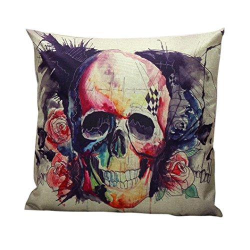 XILALU Halloween Decoration Skull Pillow Case Sofa Waist Throw Cushion Cover Home Decor (A) (Skull Halloween Decoration)