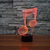 3D Musical Music Note Night Light 7 Color Change LED Table Desk Lamp Acrylic Flat ABS Base USB Charger Home Decoration Toy Brithday Xmas Kid Children Gift