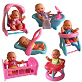 mini baby dolls - The New York Doll Collection B126 Set of 6 Dolls with Mini Bathtub, Infant Seat, Cradle, Highchair, Walker, and Swing