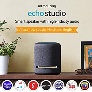 Echo Studio – Smart speaker with high-fidelity audio, Dolby Atmos and Alexa (Black)