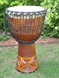"PRO 3 RING - 24"" X 14"" Djembe Deep Carved Hand Drum Model # 60m15 3R"
