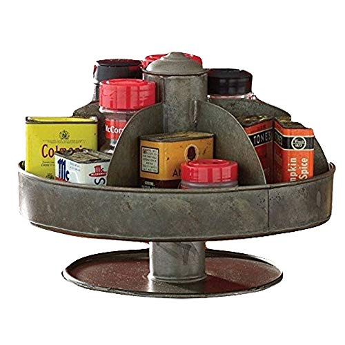 Benjara, Gray Galvanized Lazy Susan Organizer with Pockets