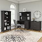 Bush Furniture Salinas Mission Desk with Hutch, Lateral File Cabinet and 5 Shelf Bookcase in Vintage Black