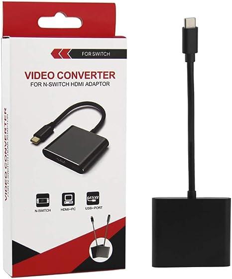 Adaptador HDMI tipo C para Nintendo Switch Dock Station, 1080P HDMI Switch Dock Converter Adaptador, compatible con Nintendo Switch. Adaptador de repuesto HDMI HUB para juego de muelles de interruptor: Amazon.es: Videojuegos