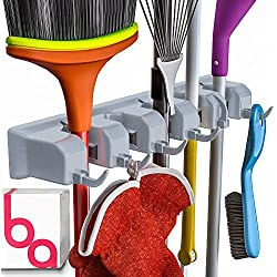 Berry Ave Broom Holder and Garden Tool Wall Mount, Organizer for Rake or Mop Handles Up to 1.25-Inches (Grey)