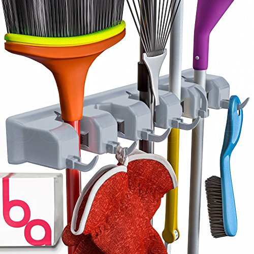 Berry Ave Broom Holder Wall Mount and Garden Tool Organizer, Closet Storage, Kitchen Rack, Home Organization and Garage Organizer for Rake or Mop Handles Up to 1.25-Inches, Hanger Plus 6 Hooks (Grey)