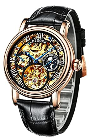 BINGER Men s Watch Automatic Mechanical Stainless Steel Skeleton Leather Band