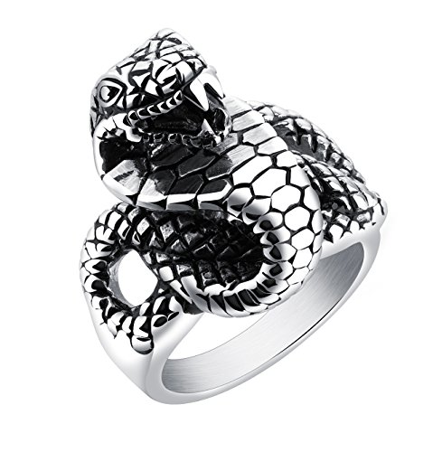 Rinspyre Men's Vintage Stainless Steel Coiled King Cobra Snake Ring Size 10 (Ring Cobra)