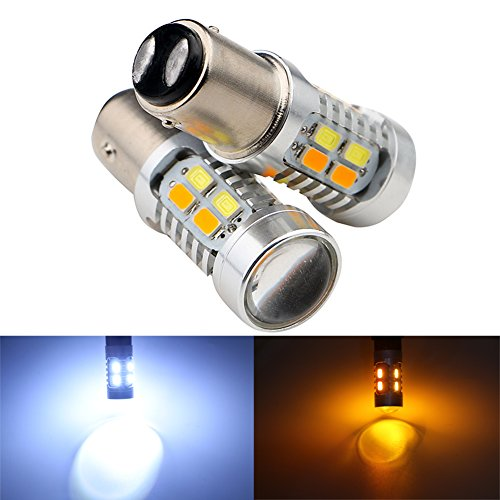 (Grandview 1157 BAY15D 5730 20 SMD Amber/White Switchback Turn Signal LED Light Bulbs 3.8W 12V LED Super Bright 600 Lumens 6000-6500K Brake Light Lamp (Pack of 2))