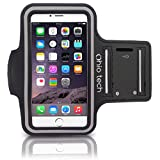 Ohio Tech iPhone Running & Exercise Armband with Key Holder for iPhone 7, 6, 5, 5s, 5c, 4, 4s (4.7-Inch) - Black