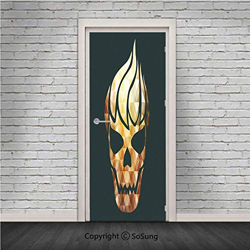 Modern Door Wall Mural Wallpaper Stickers,Gothic Skull with Fractal Effects in Fire Evil Halloween Concept,Vinyl Removable 3D Decals 30.4x78.7/2 Pieces set,for Home Decor Yellow Light Caramel Dark Gre -