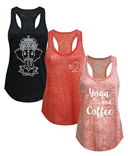 Tough-Cookies-Womens-Burnout-Elephant-Lotus-Small-Yoga-Coffee-Tank-Top-3-Pack