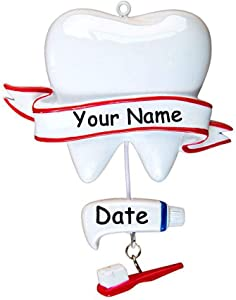 Personalized Dentist Christmas Ornament - Dental Hygienist Dentist Assistant - Large Tooth Toothbrush Toothpaste - Hanging Christmas Decoration - Custom Name and Date