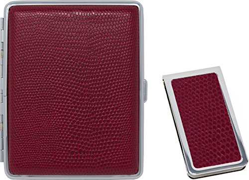 Lizard Print Red Leather Money Clip + Matching (100s) Nickle-Plated Metal Cigarette Herbal Cigarette Cigar Tobacco Carrying Stash Storage Case (Metallic Print Lizard)