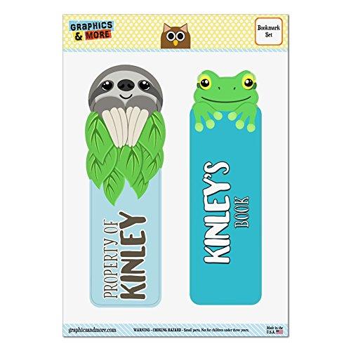 set-of-2-glossy-laminated-sloth-and-frog-bookmarks-names-female-ke-ki-kinley