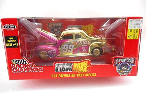 Racing Champions1998 #99 Jeff Burton Exide 1940 Ford Coupe #42 Gold Chrome - 24 Scale Corvette Coupe