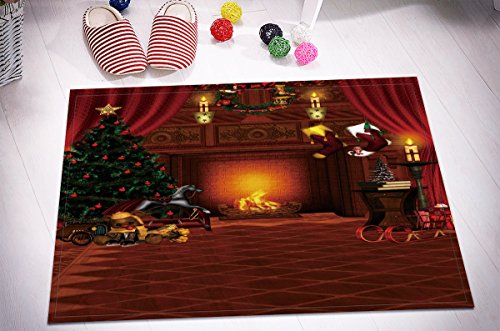 Merry Christmas Season Eve New Year Decorative Decor Gift Stylish Bath Rugs 3D 16x24 Inch Customized Personality Dark Golden Fireplace Toy Tree Wreath Outdoor Indoor Front Door Mat Non-slip Bath Mat by LB™<p><B>See More Click Here</B>