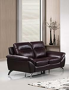 "Cortesi Home Contemporary Madison Genuine Leather Loveseat, Deep Merlot 60"""