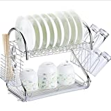 Stainless Steel Dish Rack Kitchen Daily Use Shelf Double Layer Dish Rack Simple Metal Drain Rack,A