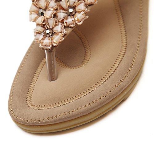 Marrone donna Estate Scarpe infradito Donna donna Strass da Studente spiaggia Dolce Beach Pantofole da Sandalo Moda XIAOQI Holiday Boho Fiore q1CSwH