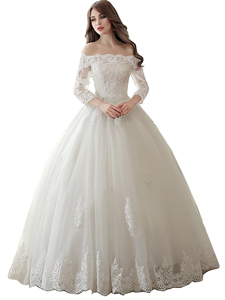Ivory APXPF Women's Lace Beaded Off The Shoulder Wedding Dress Ball Gown