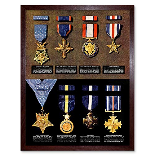 (Wee Blue Coo War Drawing WWII USA Medal Honor Cross Army Navy Air Force Art Print Framed Poster Wall Decor 12x16 inch)