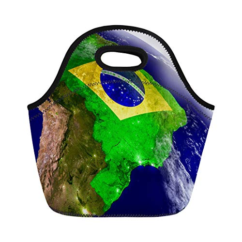 Semtomn Lunch Bags Brazil Embedded Flag on Planet During Sunrise 3D Highly Neoprene Lunch Bag Lunchbox Tote Bag Portable Picnic Bag Cooler Bag