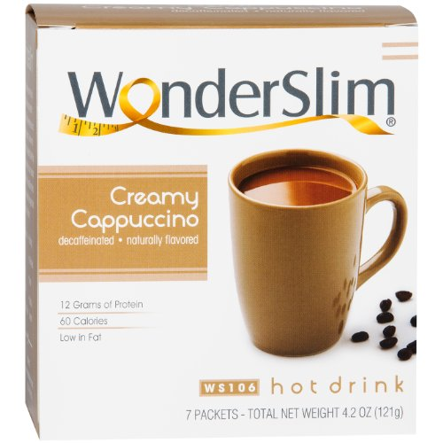 (WonderSlim Low-Carb High Protein Powder Diet/Weight Loss Instant Hot Drink Mix - Cappuccino (7 Servings/Box) - Low Carb, Low Calorie, Low Fat, Cholesterol)