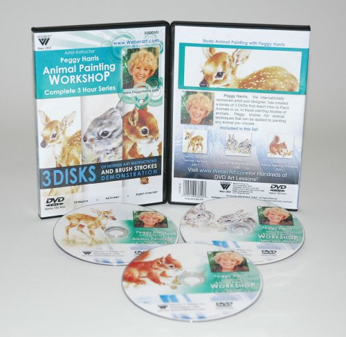 HARRIS DVD SET ANIMAL OIL PAINTING - FAWN, BABY JACK RABBITS & SQUIRREL. INCLUDES 3 DVDs. 3 (Baby Boy Gem Sticker)