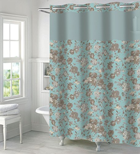 Hookless Faux Silk Shower Curtain with Peva Liner-Canal - Faux Liner Silk