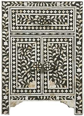 Heathertique Handmade Bone Inlay Furniture – Side Table Floral Pattern Cabinet Black