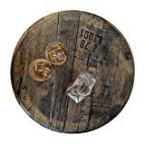 Bourbon Barrel Lazy Susan - Made from a Real Barrel Head, Distillery Stamped Authentic - Whiskey Barrel Lazy Susan … (Natural Oak)