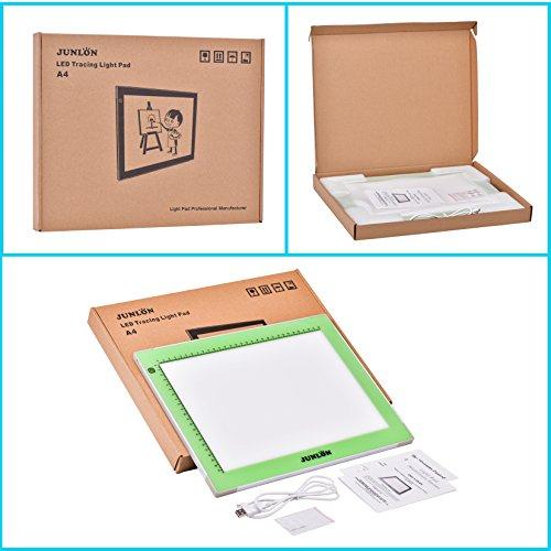 JUNLON A4 Aluminum USB LED Light Box Light Pad Table Tracing Board Tracer,Adjustable Brightness Ultra-Slim Led Pad Light for Weeding Vinyl,Drawing,Artcraft,Sketching,5D Diamond Painting Full Drill
