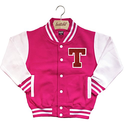 Batch1 Kids Varsity Baseball Jacket Personalised With Genuine Us College Letter T (5-6 Years, Hot Pink) (Letter Jackets For Kids)