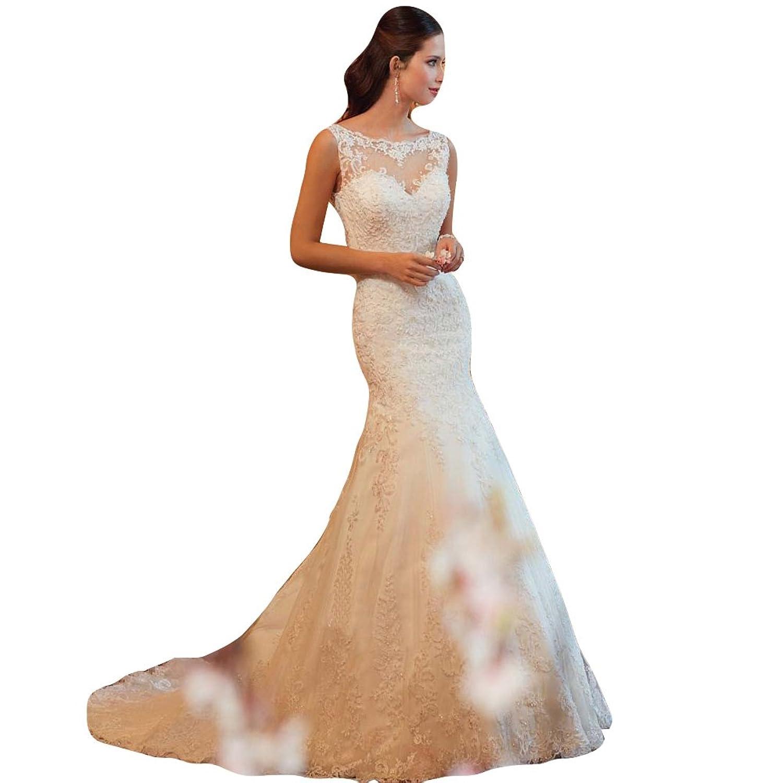 WeWind Damen Fishtail Brautkleid mit Spitze Tüll Rückenfreie ...