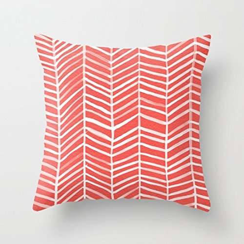 Decorative Square Pillow Case Cushion Cover 20X20 Inches Coral Herringbone Throw Pillow (Newport Pillow Covers)