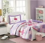 4 Piece Girls Dancing Ballerinas Themed Coverlet Full Queen Set, All Over Ballet Dancers Pattern Bedding, Pink Purple White, Flowers Floral Dance Designs Patchwork, Twinkle Toes Twirling, Polyester