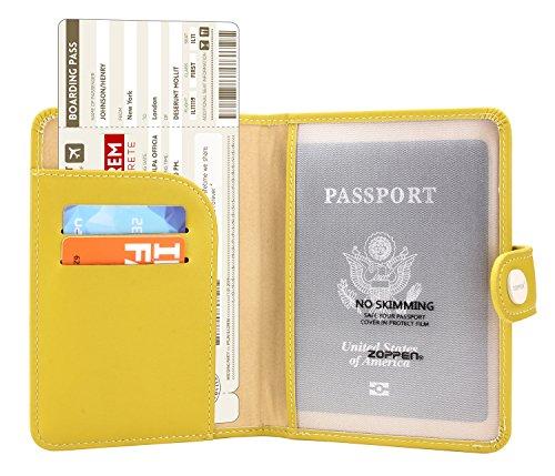Zoppen Rfid Blocking Travel Passport Holder Cover Slim Id Card Case (#32 Cabalt Yellow)