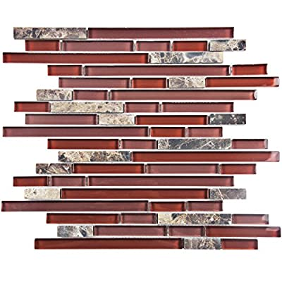 "SomerTile GITTPNBX Sierra Piano Bordeaux Glass and Stone Mosaic Wall Tile, 12"" x 11.75"", Red/Pink"