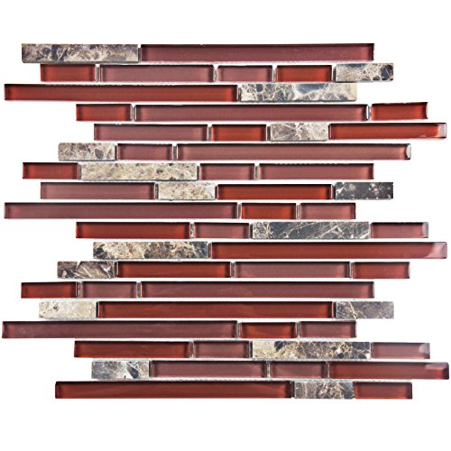 - SomerTile GITTPNBX Sierra Piano Bordeaux Glass and Stone Mosaic Wall Tile, 12
