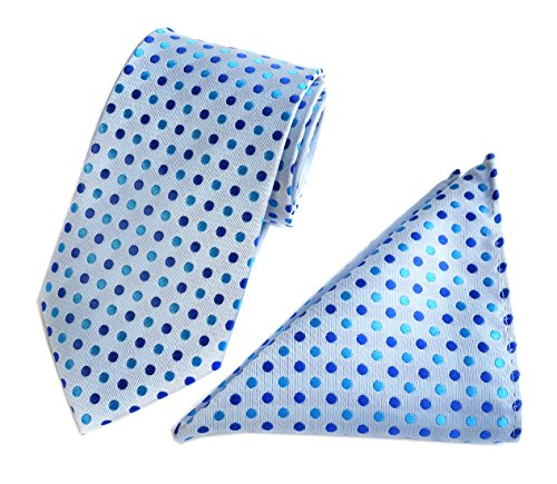 Men's Silver Teal Blue Royal Party Ties Matching Pocket Square Handkerchief Set