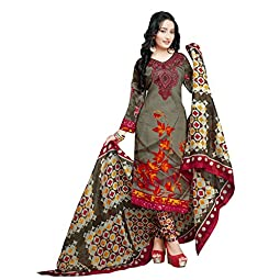 Rajnandini Women's Olive Green Cotton Printed Unstitched Salwar Suit Material (Free Size)