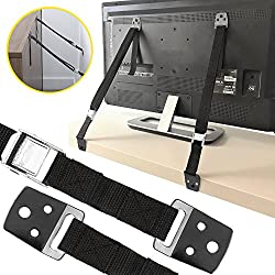SaferKids Anti-Tip Safety Straps Kit - TV And Furniture Wall Anchor | Baby-Proof and Earthquake-Proof From Tipping | All Mounting Hardware Included | Free Corner Protection Guards (2 Pack)
