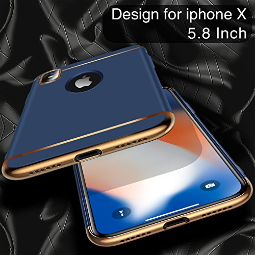 iPhone X Case, TORRAS [Lock Series] 3 in 1 Hybrid Hard Plastic Case Ultra Thin and Slim Anti-scratch Matte Finish Cover Case for Apple iPhone X - Blue Photo #5