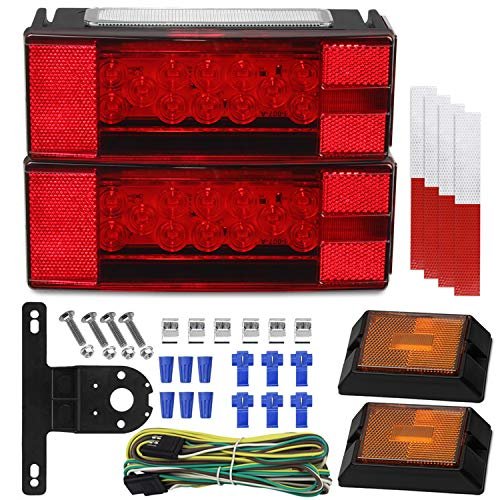 Linkitom Submersible LED Trailer Light Kit, Super Bright Brake Stop Turn Tail License Lights for Camper Truck RV Boat Snowmobile Under 80