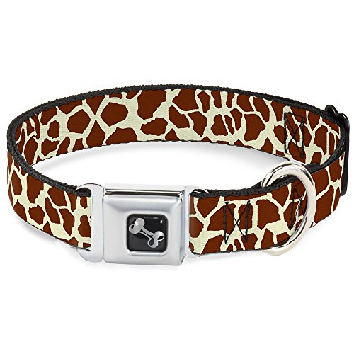 Dog Collar Seatbelt Buckle Giraffe Spots2 Cream Brown 18 to 32 Inches 1.5 Inch Wide