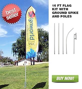 Signworld Custom 16' Advertising Swooper Flag with Ground Spike