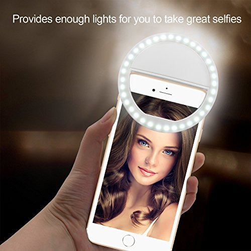 Selfie Ring Light, Enlody Dimmable Clip Ring Lighting - Rechargeable 36 LED Bulbs Light for iPhone, Android, Tablet, iPad, Laptop, Camera (White) by Enlody (Image #8)