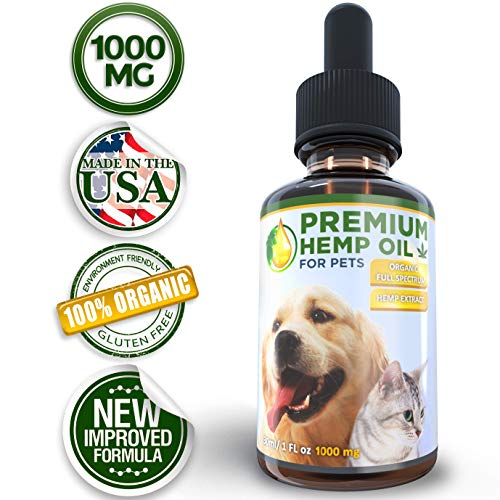 dreamMLandd Hemp Oil for Pets - Full Spectrum Pure Organic Hemp Extract (1000mg) Anxiety & Separation Health & Immunity Support All Natural Supplement for Cats & Dogs 1 Fl Oz (30 ml)